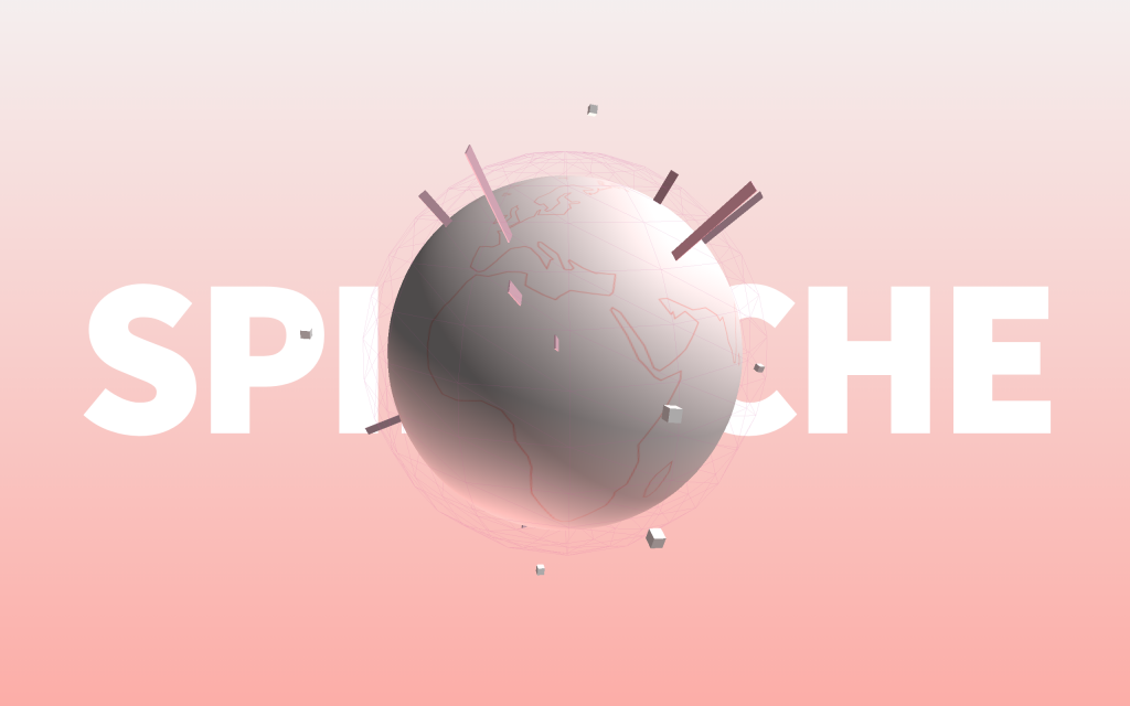 This is a capture the WebGL composition create by SPIDOCHE. It's represented a simplify 3d world earth with geometric asteroid turning around it and there is also thin 3d bars growing from the ground to the sky in multiple direction. On the background we can read SPIDOCHE. The global color scheme is pink and give a fresh morning mood